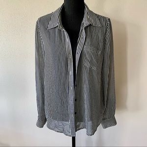 Forever 21 Blue/White Striped Button Down Shirt